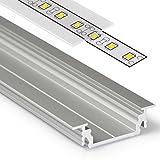 1m Aluprofil GROOVE14 (GR14) Aluminium Profil-Leiste eloxiert für LED Streifen - Set inkl Abdeckung-Schiene mit Montage-Klammern, Endkappen