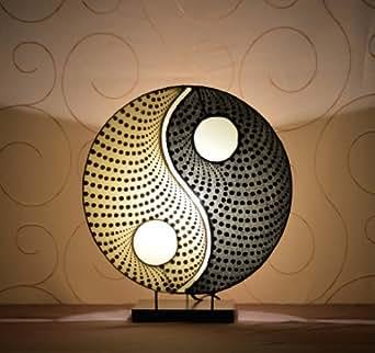 Lampe de table asiatique Yin Yang Dot (LA12-89/BE/S), lampe design, lampe à pied, lampe poétique, design decoratif, accessoires Bali