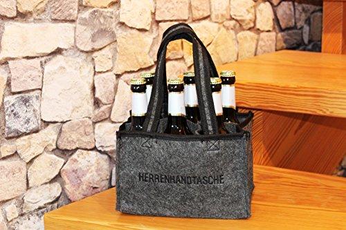 Kamaca ® HERRENHANDTASCHE für 6 Bierflaschen Flaschenträger Flaschenkorb Flaschentasche aus Filz mit Stickerei perfekte Geschenkidee für Männer (Herrenhandtasche)