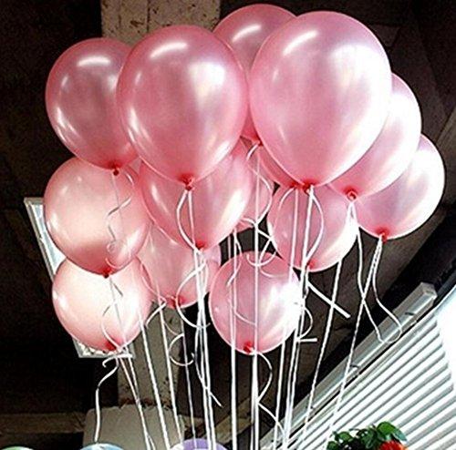 Beauty DIY Mart 100pcs Látex Globos de 10 Pulgadas Perla para Decoraicion de Boda Cumpleaños Fiesta, Color Rosa