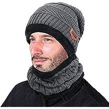 28c9ccc10 ZZLAY Sombrero de Gorro de Invierno Grueso Conjunto de Bufanda Gorro de  Gorro de Punto cálido
