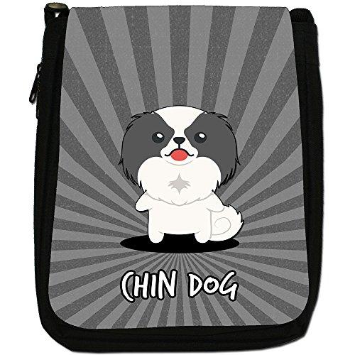 Asian Cartoon cani medium nero borsa in tela, taglia M Japanese Chin Dog