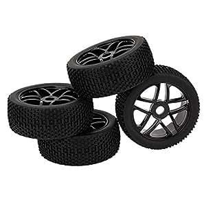 DN HSP RC 1:8 voiture tout-terrain étoiles roue moyeu jantes grille Grain pneus 43 mm largeur (Pack de 4)