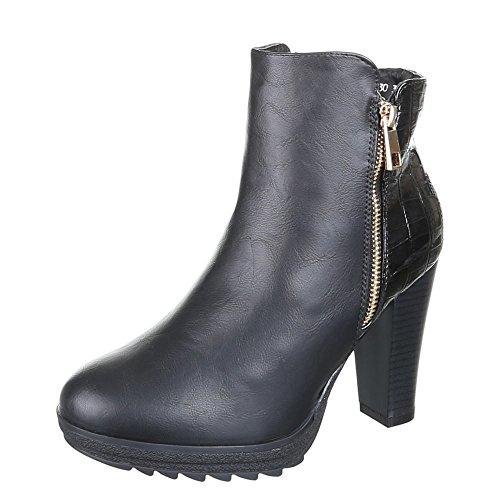 Damen Schuhe, ZH630, WARM GEFÜTTERTE STIEFELETTEN Schwarz