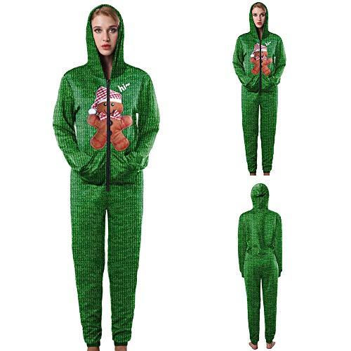 Amphia - Damen-Weihnachtsbrief-Einteiler-Sweatshirt-Overall,Frauen Weihnachten mit Kapuze Brief Bär gedruckt Sweatshirt Overall Anzug(Grün,XL)