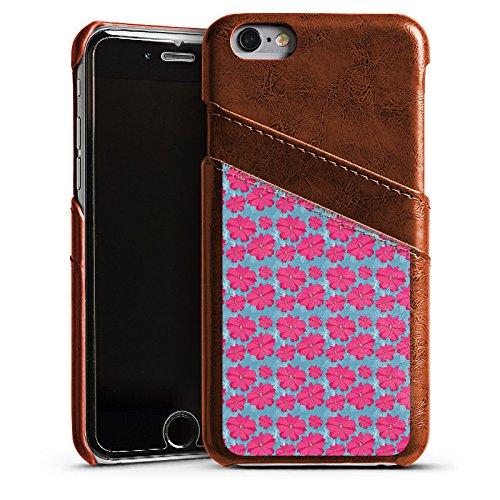 Apple iPhone 6 Housse Étui Silicone Coque Protection Fleurs Fleurs Rose vif Étui en cuir marron