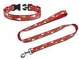 KEFAN natalizio 2.5cm largo 120cm lungo manico in nylon Dog guinzaglio e collare set per cani di taglia media e grande, albero di Natale modello