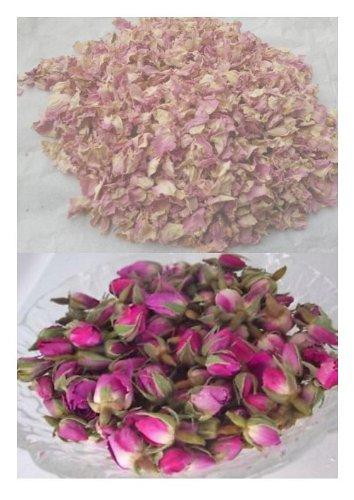 Rosenknospen, Getrocknet, 50 G, Blumen Rosa Rosenknospen Und 25 G, Pink Und Creme, - Rosa Rosenblätter Getrocknete