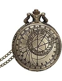 Orologio da Tasca a Quarzo Figura Geometrica con Collana in Lega Bronzeo Vintage