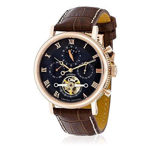 Louis Cottier - Uhr Tradition automatisch grau Wahl - Fall PVD Roségold 42 mm - Braunes Lederarmband - Mann (Krokodil Neue Braune)