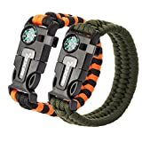OXA Multifunctional Paracord Bracelet 2 Pack, Outdoor Hiking Traveling Camping Survival Kit with Embedded Compass, Fire Starter, Emergency Knife, Whistle, Rescue Rope Black & Orange + Green