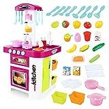 Xyanzi Kinderspielzeug Chef Kitchen Toy Toys, Kleinkind Kochen Spielzeug, Kochutensilien, Kinder Kochen Pretend Toy Set Mit Licht Und Soundeffekte (36 Stücke) (Farbe : Purple)