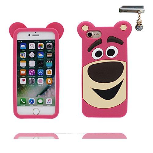 iPhone 6 Plus Custodia, TPU Safe / Case iPhone 6s Plus Copertura / Shock Dust Resistant Shell iPhone 6 Plus Cover e tappi antipolvere (gratis) / Cartoon 3D Orso del giocattolo di Disney Rosa 1