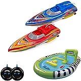 Racing-Set 2x RC ferngesteuerte mini Speedboote mit integriertem Akku und aufblasbarem Poolbecken, Boot, Komplett-Set inkl. Fernsteuerungen