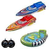 HSP Himoto Racing-Set 2X RC ferngesteuerte Mini Speedboote mit Integriertem Akku und aufblasbarem Poolbecken, Boot, Komplett-Set inkl. Fernsteuerungen