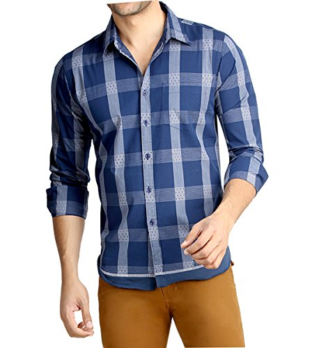 7. London Bee Men's Cotton Checks Long Sleeve Slim Fit Shirt (Small)
