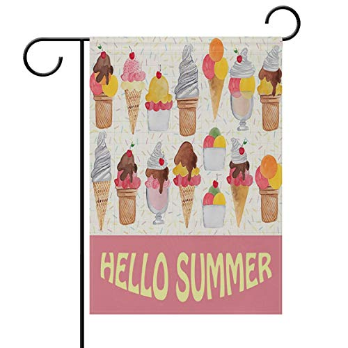 Italian Flag Patches (ASKYE Hello Summer Ice Cream Sprinkles Cone Double Sided Garden Yard Flag, Love Ice Cream and Popsicles Decorative Garden Flag Banner for Outdoor Home Decor Party(Size: 28inch W X 40inch H))