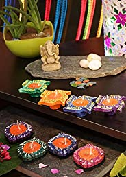 Bavla Diwali Decoration 8 Pc. Multicolor Wax Filled Designer Earthern Diya Set