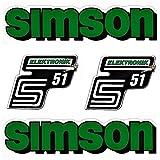 SET: Aufkleber Klebefolie SIMSON S51 - ELEKTRONIK - GRÜN für Tank und Seitendeckel