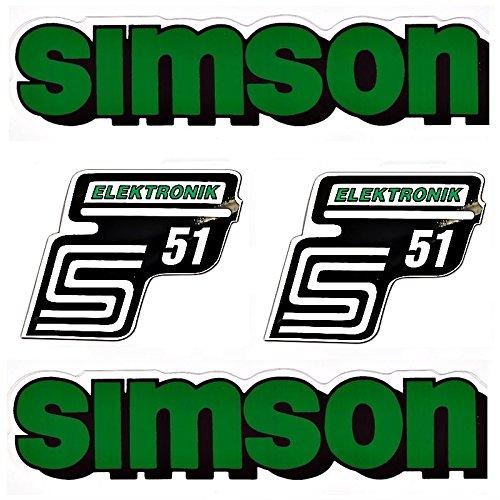 g1 urban SET: Aufkleber Klebefolie SIMSON S51 - ELEKTRONIK - GRÜN für Tank und Seitendeckel