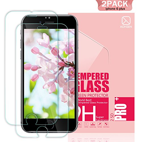 Youer Phone 8 Plus/7 Plus/6s Plus/6 Plus Screen Protector, [2Pack] for iPhone 8/7/6s/6 Plus Premium Tempered Glass, 9H Hardness, Anti-Shatter, Bubble Free, for apple iPhone 8P/7P/6sP/6P 5.5 inch