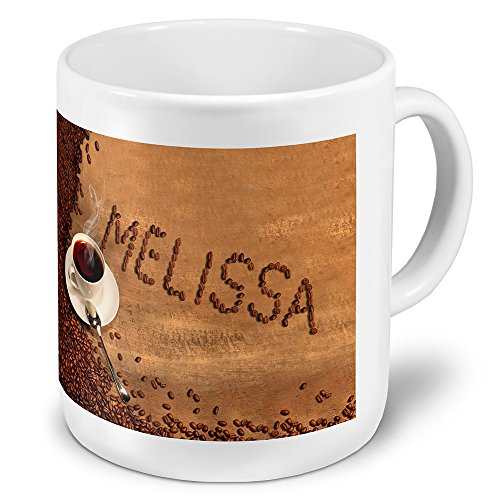 """XXL Riesen-Tasse mit Namen """"Melissa"""" - Jumbotasse mit Design Kaffeebohnen - Namens-Tasse,..."""