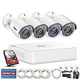 ANNKE Kit de Seguridad 4CH 960P PoE NVR simplificado y 4 Cámara IP de Seguridad para Interior y Exterior, IP67 Impermeable, visión Nocturna de 100 pies, personalización de detección y 1TB HDD