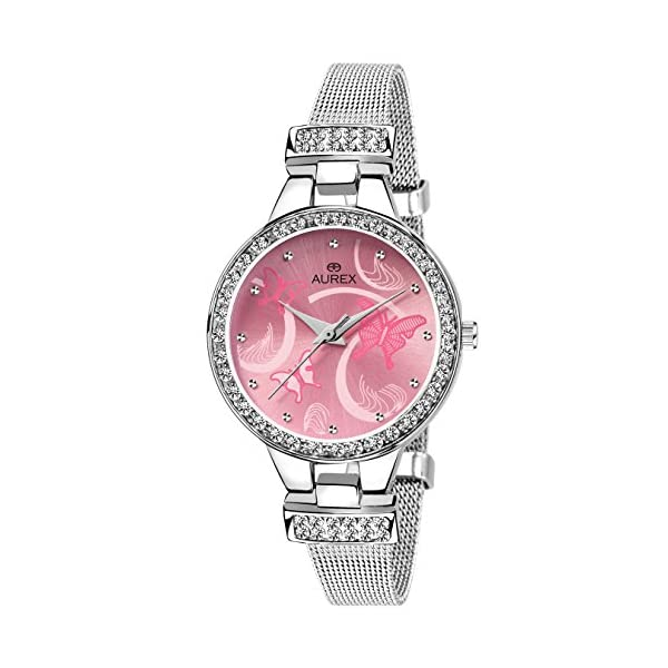AUREX Analogue Women's Watch (Pink Dial Silver Colored Strap)