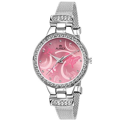 Aurex Analog Pink Dial Women's and Girl's Watch (AX-LR501-PKC)