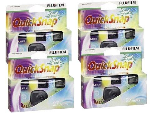 Fuji Quicksnap Einwegkamera mit Blitz, Filmmaterial X-tra 400 ASA für 27 Aufnahmen, 4 Stück