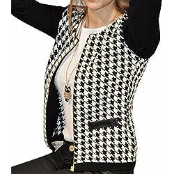 blanco y Negro de costura de la tela escocesa del sobretodo delgado de la chaqueta de la capa corta de senora de las mujeres