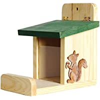 Squirrel feeding station with UV-acryllicglass silo, sitting shelve and decorative squirrel