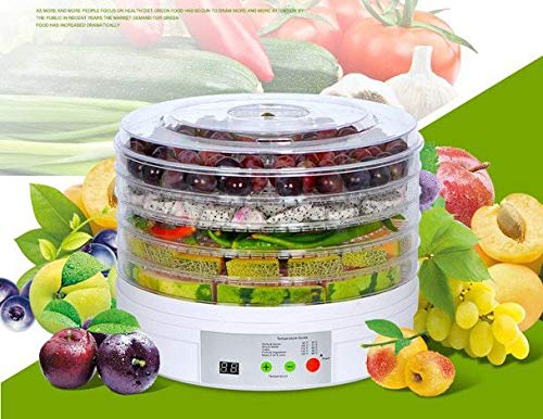 Getzon Portable Electric Food Fruit Dehydrator Machine with 5 Tray Adjustable Thermostat, 11x11x 7.5-Inch(White)