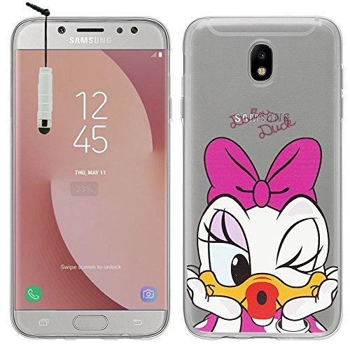 VCOMP Silikonhülle TPU transparent Ultrafein Muster Zeichentrick- jolie Thema Weihnachten für Samsung-Galaxy J7 (2017) SM-J730F/ds/ J7 (2017) Duos J730F/ds - Daisy Duck + Mini-Eingabestift