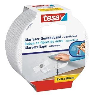 tesa Reparaturband für Risse in Wänden, Glasfaser-Gewebe, selbstklebend, 25m x 50mm