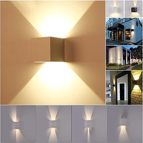 Wandleuchte LED Würfel mit verstellbarem Winkel Licht Up Down weiß Modern Wasserdicht für Innen und Außen Wandleuchte Aus Aluminium mit 6 W 810 Lumen LED Panel Kaltweiß UP DOWN (Spannungen Würfel)