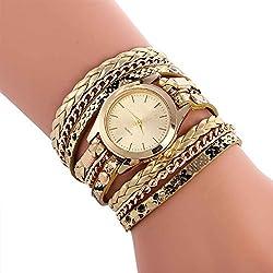 Bobury Reloj de pulsera de diseño de leopardo de las mujeres Leopard Woven Watch Reloj de cuarzo de cuero de múltiples capas