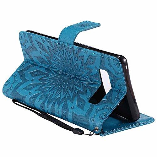 Custodia Galaxy Note 8, Dfly Premium PU Goffratura Mandala Design Pelle Chiusura Magnetica Protettiva Portafoglio Custodia Super Sottile Appoggio Flip Cover Per Samsung Galaxy Note 8, porpora Blu