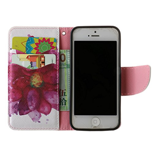 Coque iPhone 5 / 5s / SE PU cuir flip Wallet Etui Case Cover Housse A1