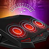 Faironly High Speed Fan Notebook Cooler with LED Silent Adjustable Laptop Cooling Pad Stand Dual USB Holder Black