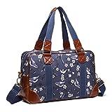Miss LuLu Schulranzen Cross-Body Bag mit Blumen/Vögel-Drucken Große Handtasche Schule Umhängetasche Damen Mädchen (L1106-16J NY)