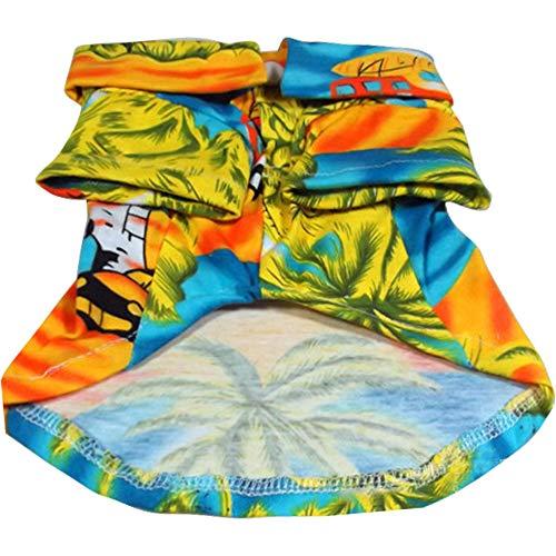 Yiwa Cat Hunde,Kleidung für Hunde Katze Pet,Verkleidungen & Kostüme für Hunde,Tierbedarf,Hawaii Style Printing Shirt für Pet Dogs Outdoor Beach Wear Yellow XS -
