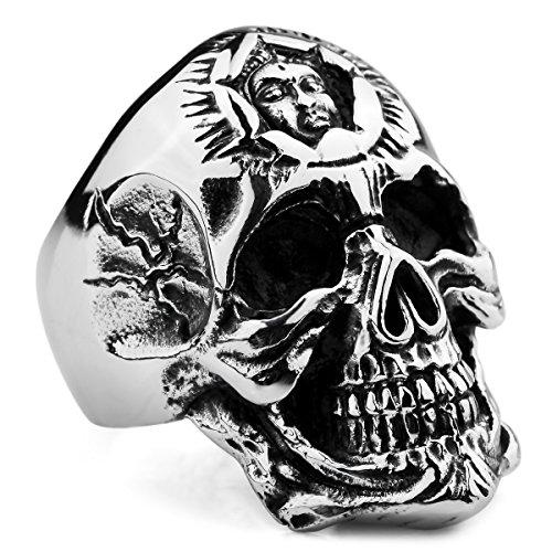 MunkiMix Groß Edelstahl Ring Silber Ton Schwarz Totenkopf Schädel Sonne Totem Amulett Native American Indian Größe 62 (19.7) Herren (Schwarz Ring Größe 10)