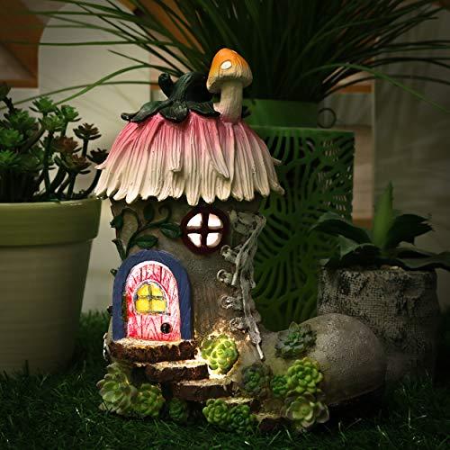 TERESA\'S COLLECTIONS 22cm Garten Deko Solar LED Stiefel Feenhaus Kunstharz Gartenfigur für außen Elfenhaus für Ihren Feengarten