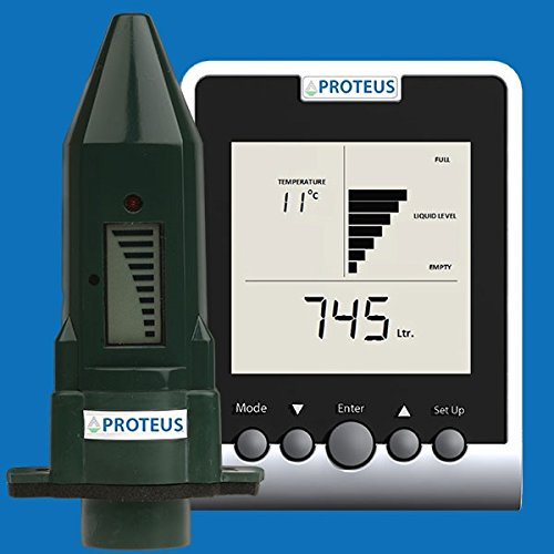 Füllstandsanzeige für Zisterne. EcoMeter S Plus mit Antennenverlängerung für Erdtanks, funktote Bereiche. Füllstandssensor (batteriebetrieben) mit Funk-Display, Funkübertragung bis zu 150m