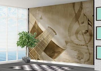 Guitar And Sheet Music Distressed Wallpaper Wall Mural Music Room - 2XL