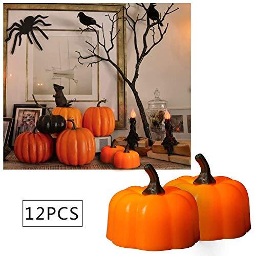 Ming Yu LED Kerze Ein Satz von 12 4.8 * 4.3 cm Halloween Dekorative Kürbis Licht Simulation Kürbis Kerze Licht Feuerloses Kürbis Teelicht Orange Kürbis ()
