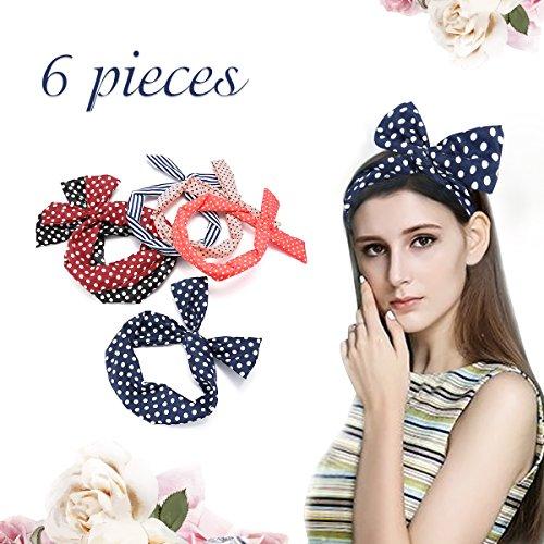 Haarband, Luckyfine 6 Stück Damen Kopfband, Twist Bow Stirnbänder Haarspange Haarband, Draht Stirnband elastischen Dehnung Haarschmuck Polka Dots Sportliche (Dot Twist)
