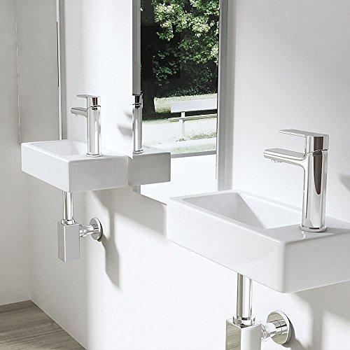 durovin rectangular de cerámica brillante blanco lavabo del baño contemporáneo compacto pequeño lavabo lavabo 18x 36x 9,5cm