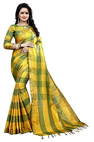 J B Fashion Women's Cotton Silk Saree With Blouse Piece (Ekkat-05-5010-1_Yellow)